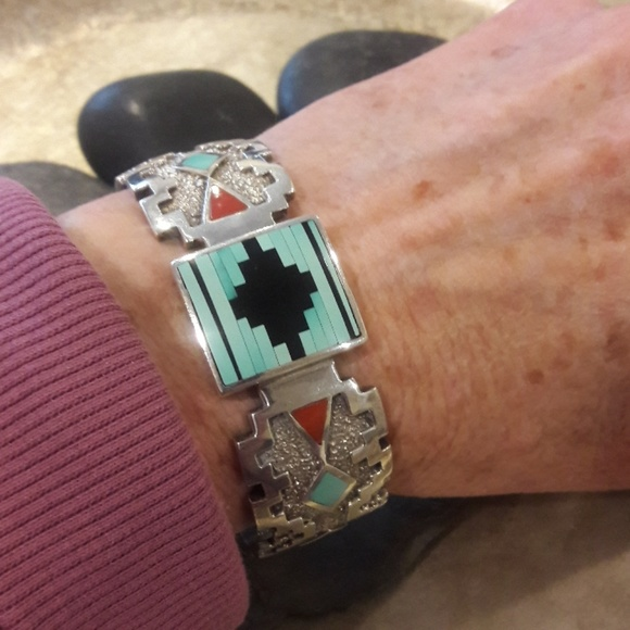 Native American Jewelry - Vintage Sterling Navajo Larry Castillo Cuff